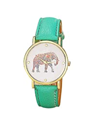 Willtoo(TM) Women Luxury Faux Leather Elephant Pattern Analog Quartz Wrist Watch (green)
