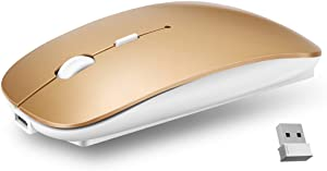 Ultra-Thin 2.4G Office Wireless Mouse Mute Charging Mouse Notebook Home Mouse with USB Receiver Compatible for Notebook, PC, Laptop, Computer, MacBook (Gold)