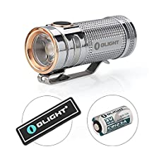 Bundle: Olight S MINI Baton 550 Lumens Cree LED Flashlight Titanium PVD Torch-More Brighter than S1 Baton- Limited Edition only 9999 Pcs for Christmas Gift- with a Mini LED Light ( Smini Polished)