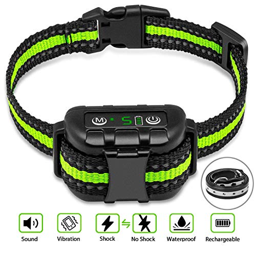 Bark Collar No Bark Collar Rechargeable Anti bark Collar with Adjustable Sensitivity and Intensity Beep Vibration and No Harm Shock Bark Collar for Small Medium Large Dogs