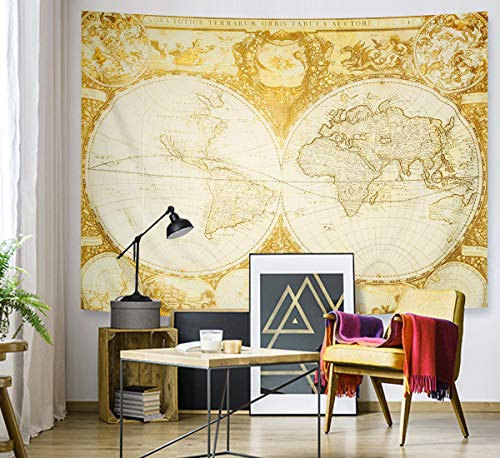 Supermee World Map Tapestry Vintage Wanderlust Decor by, Old Map Nostalgic Style Art Historical Atlas Decor, Bedroom Living Room Dorm Wall Hanging Art, 79 X 59 Inches, Brown Beige