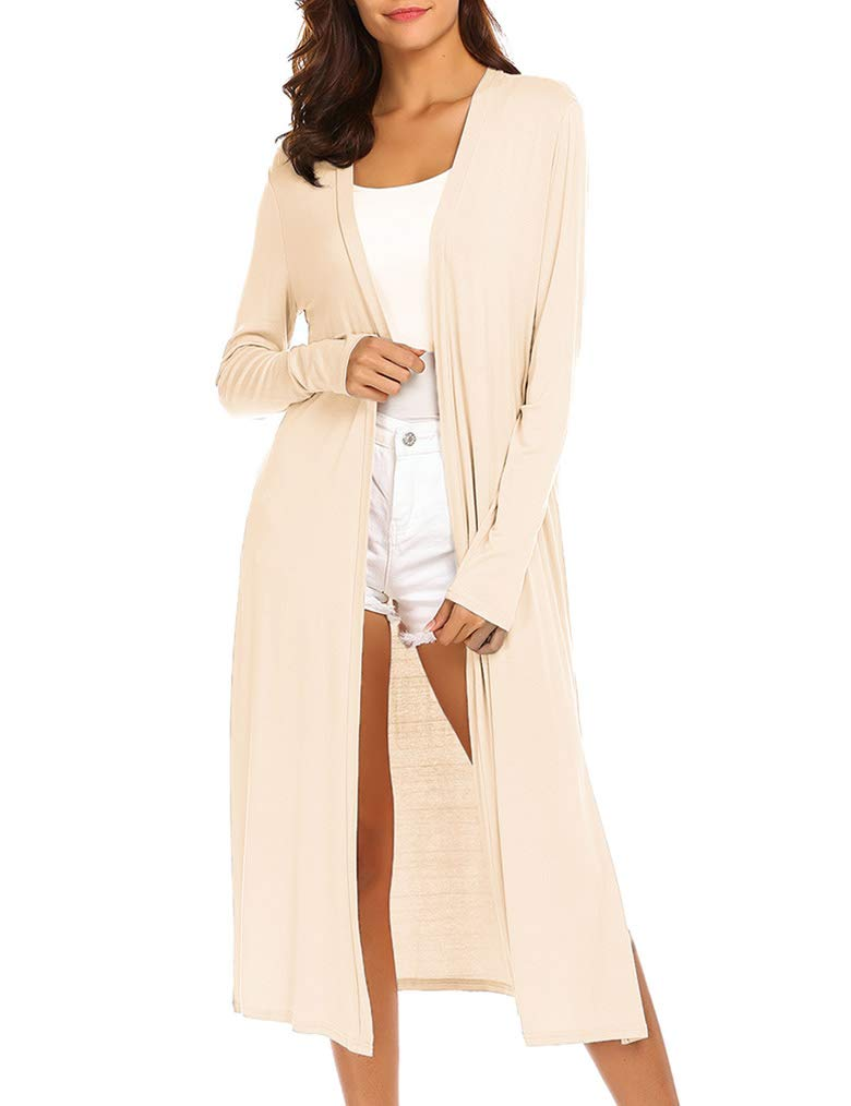 Locryz Women's Long Sleeve Open Front Drape Maxi Long Duster Cardigan(M,Beige)