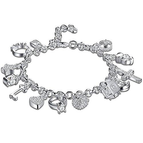 DierCosy 925 sterling Silver Plated Fashion Women 13 Charm pendant Beautiful Bracelet DierCosy