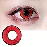 colored Cosplay Eyes Multi-Color Contact Lenses Cosplay Eyes Cute Colored Charm and Attractive Blends Cosmetic Makeup Eye Shadow 1Year Validity(Red)