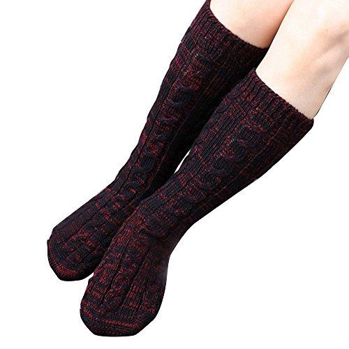 Ladies Women Girls Long Soft Knit Socks Warm Winter Cosy Lounge Bed Socks,Black+Wine (Cosy Winter Warmer)