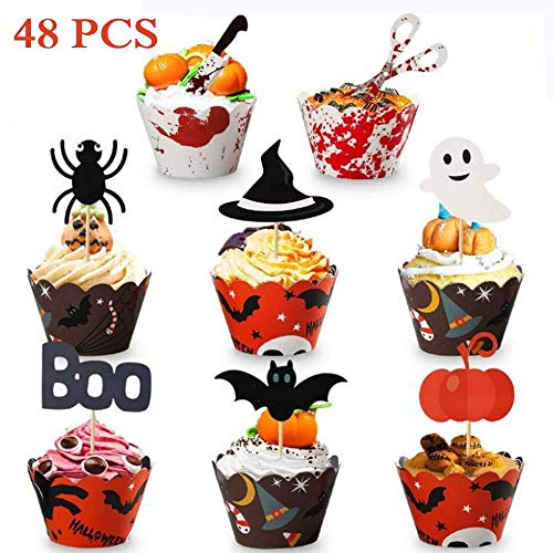 Halloween Cupcakes Toppers (24 Set Halloween Cupcake Toppers Wrappers Food Picks With Bat Pumpkin Spider Ghost for Party Decorations)