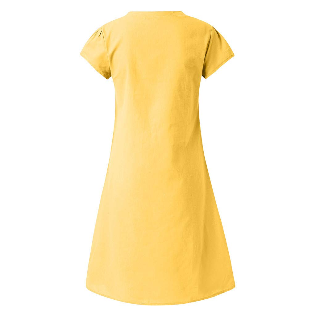 Women Dresses Summer Style T-shirt Cotton And Linen Dress Casual Plus Size Knee-Length Skirts V-Neck Loose Blouses