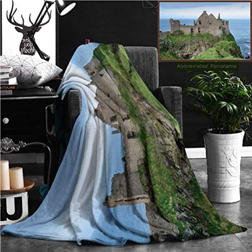 "Nalagoo Unique Custom Flannel Blankets View Of Dunluce Castle In Northern Ireland Super Soft Blanketry for Bed Couch, Throw Blanket 60"" x 50"""