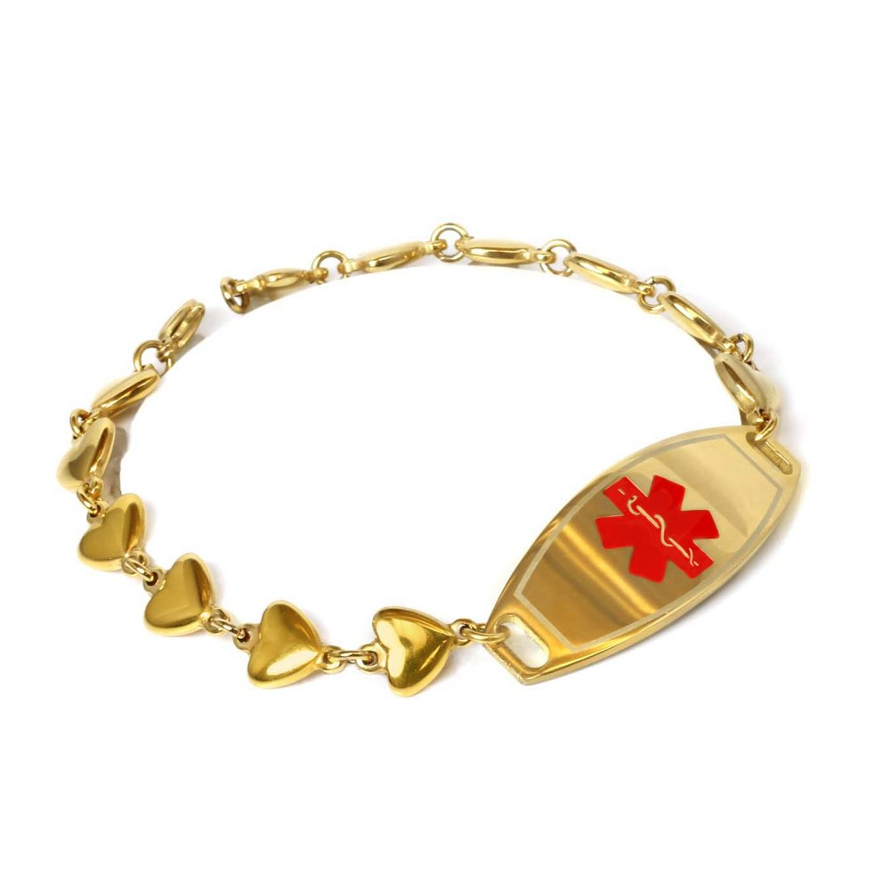 My Identity Doctor – Custom Engraved Medical Bracelet, Gold Toned 316L Stainless Steel Hearts, 1cm