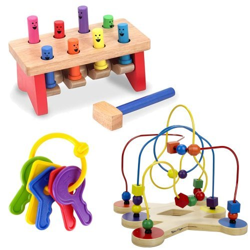 Melissa & Doug Deluxe Pounding Bench with Classic Toy Bead Maze and First Keys Teether