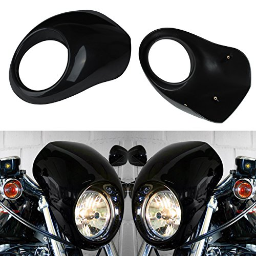 Ambienceo Cafe Drag Front Headlight Cover Fairing Cowl Mask Custom Visor For Harley Sportster Dyna Glide FX XL Fork