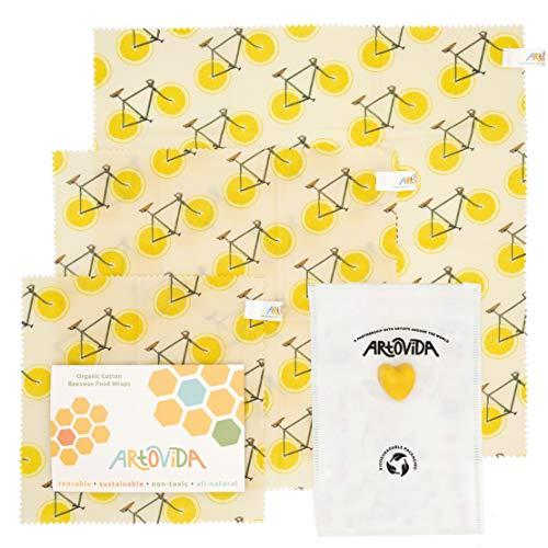 ARTOVIDA Premium Designer Beeswax Reusable Food Wraps | Biodegradable & Sustainable | Environment Friendly, Plastic & Paper Free Food Storage | Set of 3 Sizes | Florent Bodart from France - Zest from Artovida