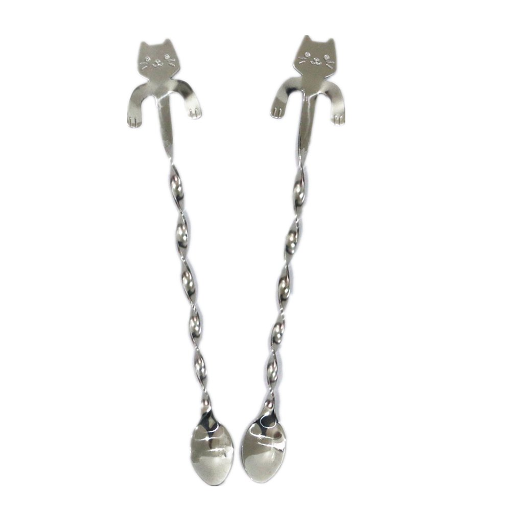 Huayoung 2-pcs Lovely Cat Twisted Spoons Stainless Steel Cocktail Mixing Spoons (7.8
