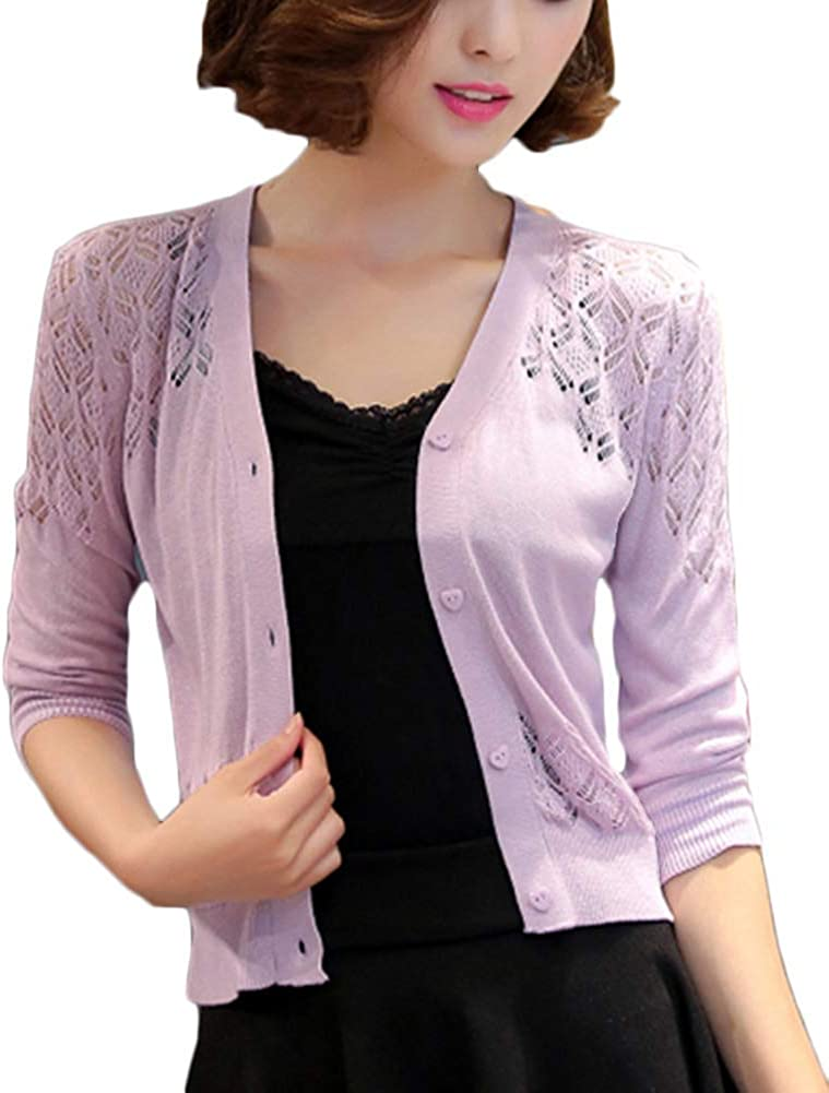 ATTAOL Womens Lace Shrugs Floral Bolero 3//4 Sleeve Cardigan Lightweight Crop Jacket Ladies for Dresses Evening Wedding
