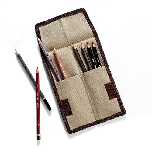 Derwent Pencil Case, Canvas Wrap Pencil Holder, Holds up to
