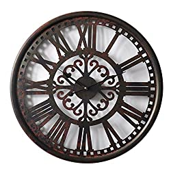 HDC International Round Decorative Metal Distressed Scroll Roman Clock Quartz Movement 23 x 23 x 1 Inches.0114