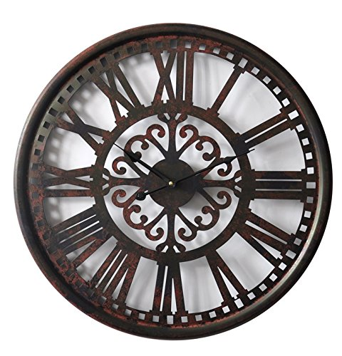 (HDC International Round Decorative Metal Distressed Scroll Roman Clock Quartz Movement 23 x 23 x 1 Inches.0114)