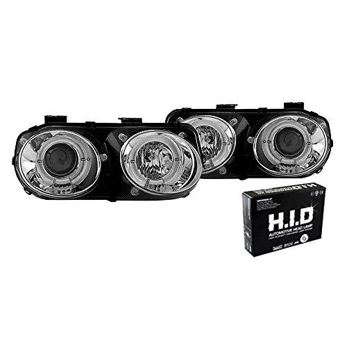 Winjet WJ10-0217-01 Projector Halo Headlights for 1998-2001 Acura Integra -Chrome/Clear