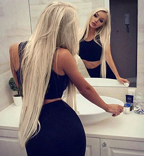 Vedar 2018 Silver Platinum Blonde Wig for Women Silky Straight Synthetic Hair Light Ash Blonde Lace Front Wigs Dirty Blonde Hair Side Part 22inch Long Hair with Transparent Swiss Lace