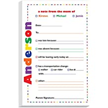 Colorful Dashes Excuse Pad | Personalized School Notepads for Kids | Custom Printed School Pads | Excuse Pad | Stationery for School