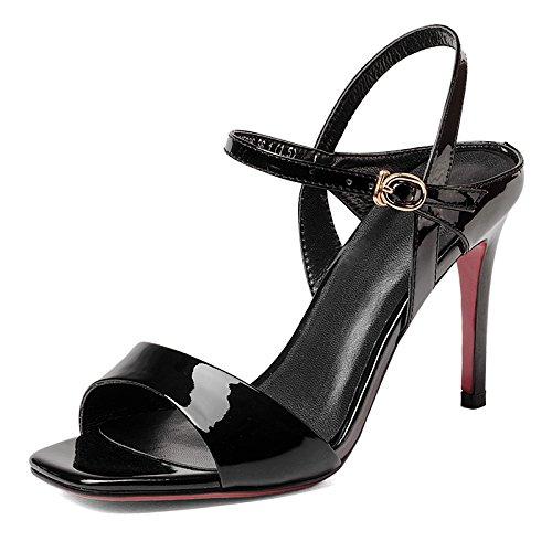 Rojo verano de cuero de moda de la hebilla Hairtail sandalia del alto talón de la muchacha Black