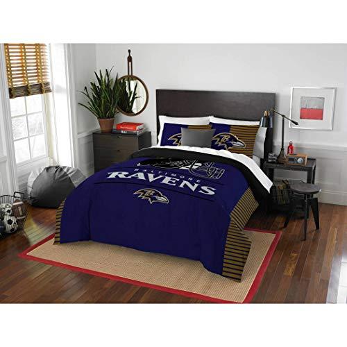 3 Piece NFL Baltimore Ravens Comforter Full Queen Set, Sports Patterned Bedding, Team Logo, Fan Merchandise, Team Spirit, Football Themed, National Football League, Blue, Multi, Unisex