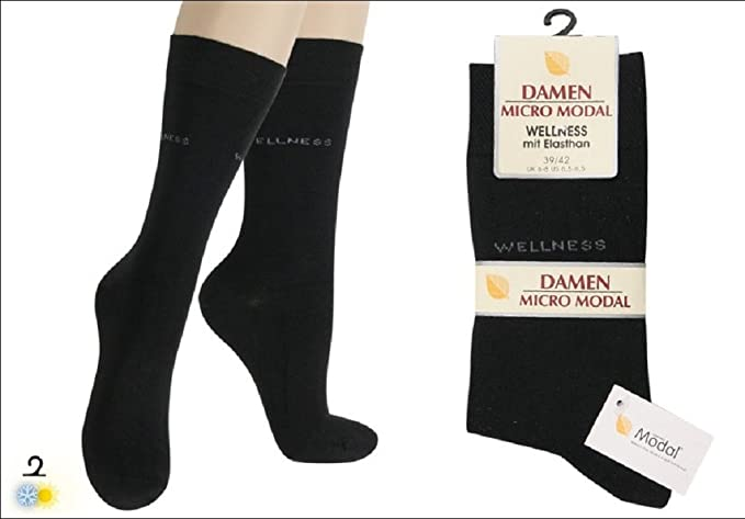 3 Pack mujer Wellness – Micro de modal de calcetines negro 35