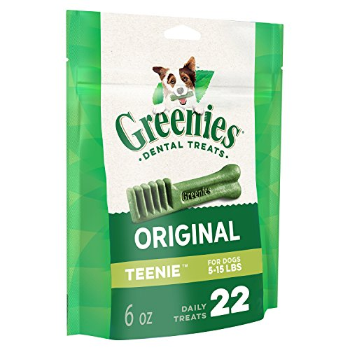 GREENIES Original TEENIE Natural Dental Dog Treats, 6 oz. Pack (22 Treats)]()