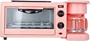 Breakfast Maker Toaster Breakfast Machine Multi-function Toaster Oven Home Integrated Automatic Coffee Breakfast Station (Color : Pink, Size : 26x20.5x17.1CM)
