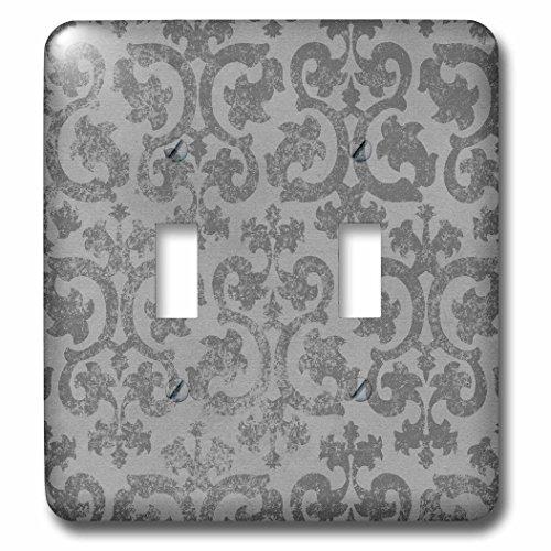 3dRose lsp_151434_2 Grunge Gray Damask Silver Grey Faded Antique Vintage Swirls Wallpaper Fancy Swirling Pattern Double Toggle (Vintage Wallpaper Antique)