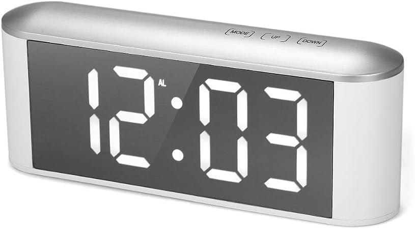 Clocks Reloj de Espejo Digital LED Multifuncional para el hogar, termómetro electrónico, Reloj Despertador con Pantalla de Temperatura de Volumen Ajustable al Lado de la Cama del Dormitorio: Amazon.es: Hogar