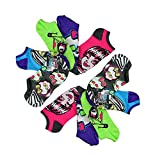 10-Pack Monster High Girls No-Show Neon Ankle Socks (Shoe Size 4-10 (L))