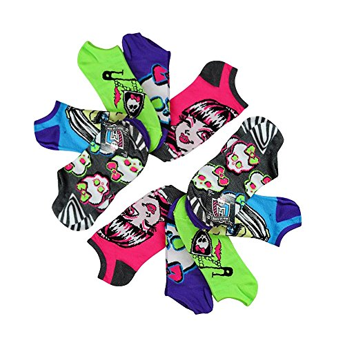10-Pack Monster High Girls No-Show Neon Ankle Socks (Shoe Size 4-10 (L)) by High Point Design