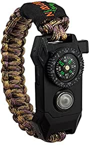 Kopwin Paracord Survival Bracelet - Military Grade Bracelet with Compass, Small Scraper, Emergency Whistle, Magnesium Flint and Led Light. Great for Hunting, Camping, Hiking. Large Size- Camo