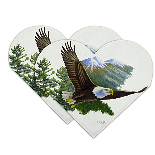 Bald Eagle Flying Over The Mountains Scenic Heart Faux Leather Bookmark - Set of 2