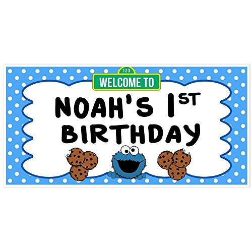 Cookie Monster Birthday Banner Personalized Party Backdrop Decoration -