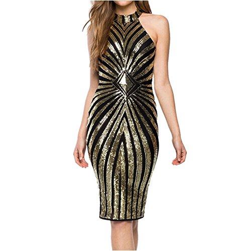 VIVOSKY Womens Plus-Size Dress Diamond Pattern Gauze Sequined Slim Bodycon Cocktail Dress