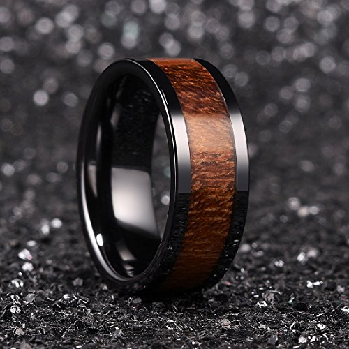 King Will Nature 8mm Black Koa Wood Ceramic Ring Wedding Band Polished Finish Comfort Fit10 by King Will (Image #2)