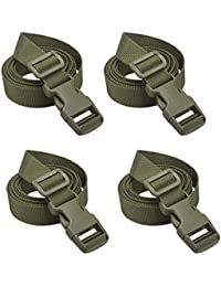 Backpack Accessory Strap Luggage Straps Cover Strap Sleeping Bag Strap with Buckle (Green - Release Buckle Straps (4-Pack))