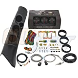 GlowShift 1998-2002 Dodge Ram w/ A-Pillar Speaker Diesel Gauge Package w/ Black 7 Color 60 PSI Boost, 2400 EGT & Trans Temp Gauges