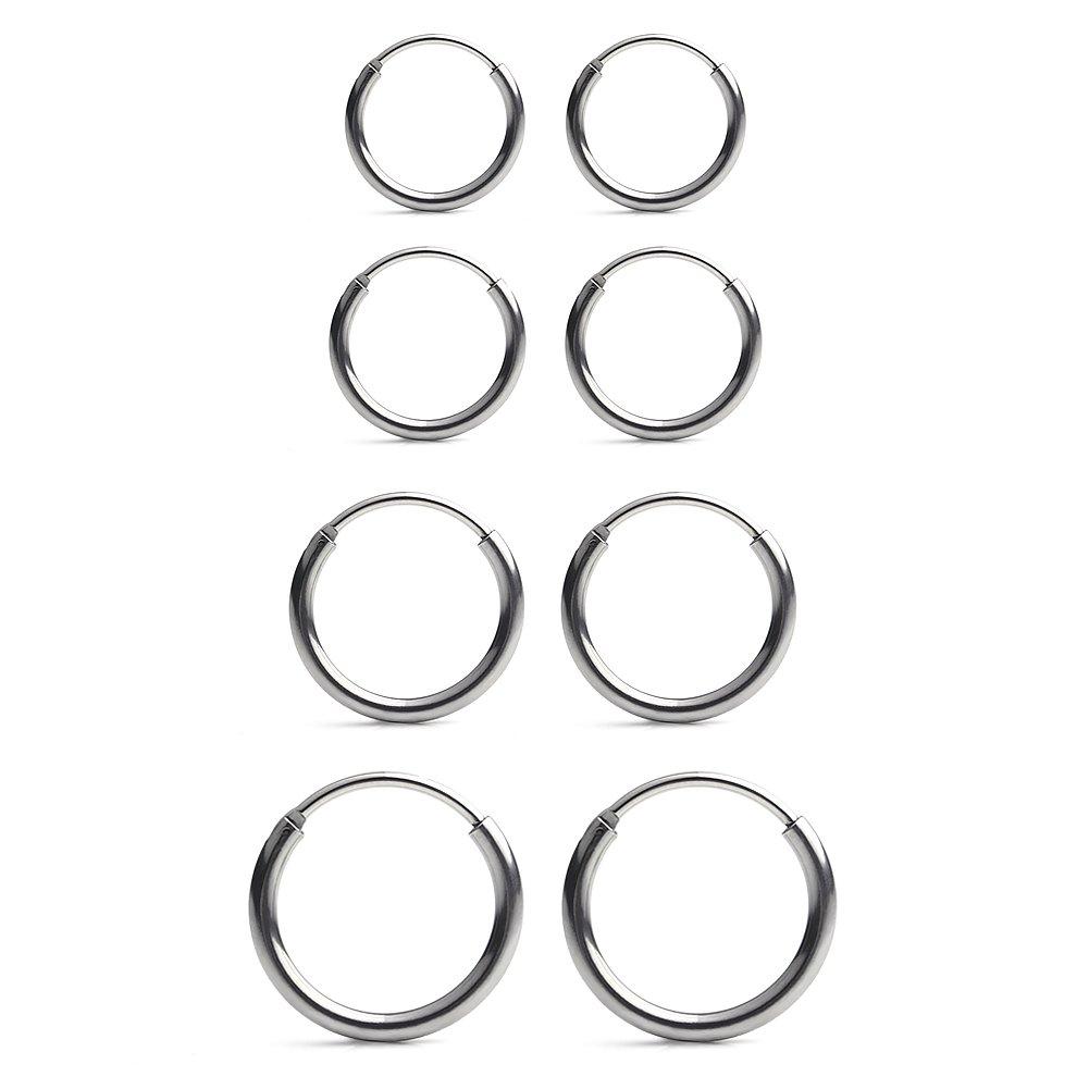 Ruifan 4 Pairs Stainless Steel Mens Womens Earrings Cartilage Lip Piercing Nose Septum Hoop 18G 8mm-14mm - Silver