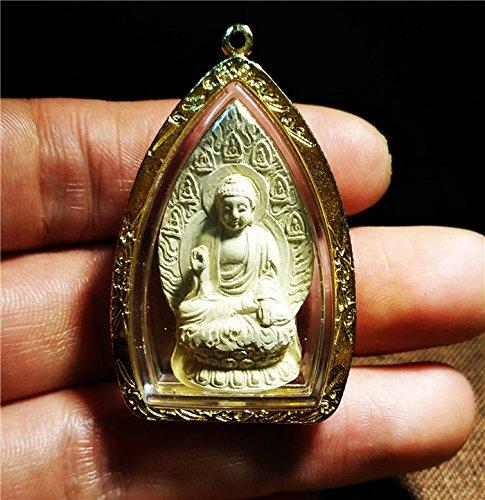 (Tibetan Shakyamuni Medicine Buddha Statue Gold Tsa Tsa Clay Amulet Tsha Tsha Necklace Pendant Genuine Lucky Charm Talisman Nepal Tibet Antique Himalaya Old Buddhism Gau Box Niche Prayer Shrine Ghau)
