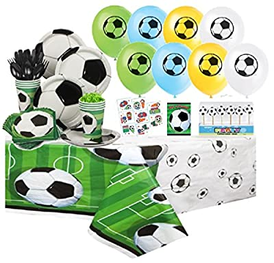Soccer Complete Party Pack for 8 includes Plates, Napkins, Cups, Tattoos, Balloons, Invites, Tablecover, Cutlery with Bonus Cake Deco Candles