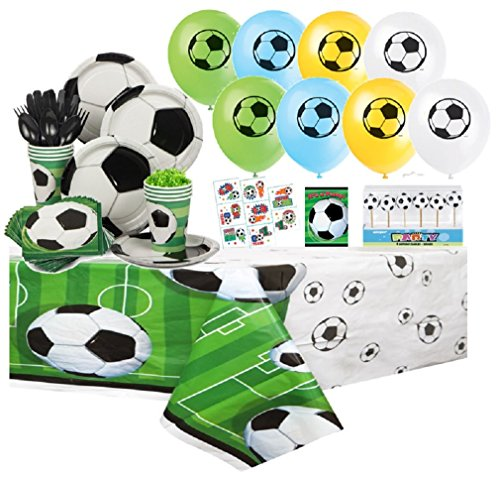 Soccer Complete Party Pack for 8 includes Plates, Napkins, Cups, Tattoos, Balloons, Invites, Tablecover, Cutlery with Bonus Cake Deco Candles by db Favors