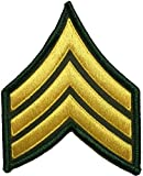 us army sewing kit - U.S. Army Sergeant E-5 Stripes Army Uniform Chevrons Rank Sew on Iron on Arms Shoulder Embroidered Applique Patch - Gold on Green - By Ranger Return (RR-IRON-SERG-E503-GRGL)