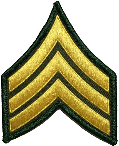 - U.S. Army Sergeant E-5 Stripes Army Uniform Chevrons Rank Sew on Iron on Arms Shoulder Embroidered Applique Patch - Gold on Green - By Ranger Return (RR-IRON-SERG-E503-GRGL)