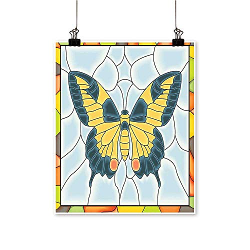 Rich in colorButterfly in Stained Glass Window with Frame Wing Spring Garden Illustration Print Decor for Living Room,16