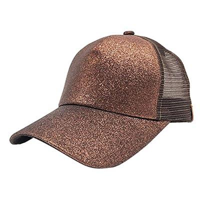 Baseball Cap, Shybuy Ponycap Messy High Bun Ponytail Adjustable Glitter Mesh Trucker Baseball Cap Dad Hat