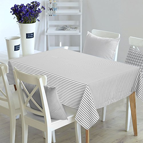 Deconovo Decorative Striped Pattern Rectangular Tablecloth Water Resistant and Spill-proof Tablecloths for Outdoor Picnic 54W x 72L Inch White and Light Grey