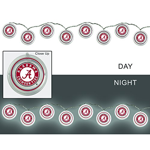 Team Sports America University of Alabama Outdoor Safe Battery Powered String Light -